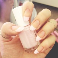 classically pretty...just a blush blush pink on the tip of these oval nails