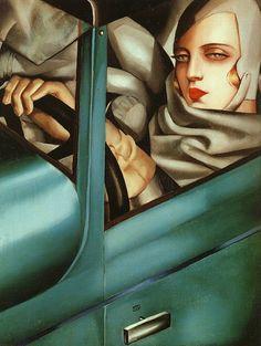 """Tamara de Lempicka, """"Self-Portrait in the Green Bugatti,"""" oil on panel, 1925."""