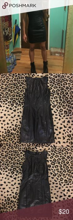 """H&M faux leather shift dress Faux leather shift dress zips in back.  Can be casual or dressy . Length 32"""" from shoulders H&M Dresses Mini"""