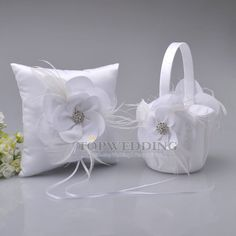 White Wedding Flower Girl Basket & Ring Pillow Set Feather Flower and Rhinestone