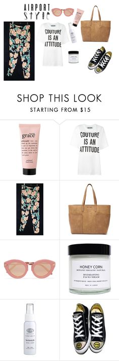 """""""Celebrity Style at the Airport"""" by retrosam76 ❤ liked on Polyvore featuring philosophy, Moschino, Tony Bianco, Karen Walker, Honey Corn, SkinCare and Converse"""