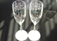 SNOWFLAKE WEDDING Painted Champagne Glasses by FlutterbyGlass, $58.00