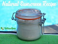 DIY natural homemade sunscreen made with coconut oil, shea butter, non-nano zinc oxide and other natural ingredients. Easy to apply!