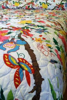 Butterflies, Flowers and Branches Vintage Bedspread Queen Size. $40.00, via Etsy.