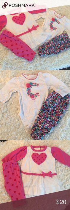 Two outfit bundle Absolutely perfect! The flowery pants are mildly faded from washing but otherwise no stains or flaws. Both are 3/6 month and both are from the Children's Place. From a smoke free home. I'm open to reasonable offers too Children's Place Matching Sets