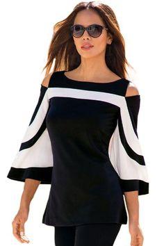 479e9f3ce23 Blouses Noire Blanc Bloc de Couleur Froide Epaule Manches Cloche