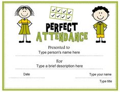 Award certificate template for perfect attendance at school free education certificate perfect attendance award certificatestreet yelopaper Choice Image