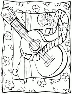 Hawaiian ukulele coloring page free printable