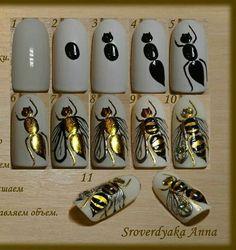 Happy Stars Shine The Brightest -{ Maybeanothername }× Bee Nails, Animal Nail Art, Easy Nail Art, Nail Art Galleries, Creative Nails, Nail Arts, Spring Nails, Nails Inspiration, Beauty Nails