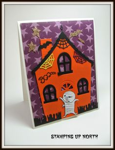 Memory box die with Halloween roof from Memory Box, mummy image from Stampin Up (Retired)