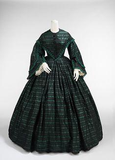 1865 Walking Dress with inner ties to shorten skirt.