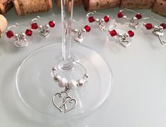 Bridal Shower Favors Wine Glass Charms  Set of by LasmasCreations