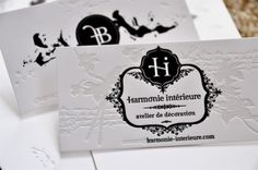 Letterpressed business cards. Beautiful logo, delicate patterns and the combination is absolutely adorable. Love this!