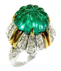 Van Cleef & Arpels. Emeraid and Diamond Ring, Circa.1965. Carved Emerald 4.82Ct