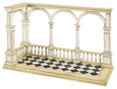 AR021 Loggia Model, Ivory, Architectural Model, Dimensions: 17,5 x 40,5 x 24,4 cm  www.heerensferen.nl