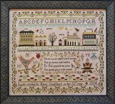 "From Shakespeare's Peddler is this beautiful sampler cross stitch pattern titled ""Mercy Goodhart's Sampler"" that is either stitched with NPI..."