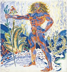 Frantisek KupkaProméthée bleu et rouge / Blue and red PrometheusAquarelle sur papier / watercolour on paper32.1 x 29.3 cm1909 - 1910