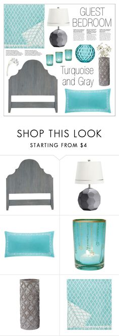 """""""Guest Bedroom - Turquoise & Gray"""" by lgb321 ❤ liked on Polyvore featuring interior, interiors, interior design, home, home decor, interior decorating, PBteen, Echo, Cultural Intrigue and Lapuan Kankurit"""