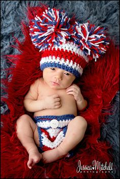 Baby Crochet 4th of July Red White and Blue by TreasuredCreation, $28.00
