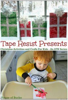 Tape Resist Christmas Presents - House of Burke