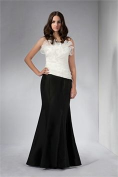 Mermaid straps sabrina white and black chiffon Mother of the Bride Dresses PGMD0018