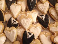 bride and groom cookies, hearts, mini's