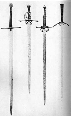 The third one sword from the left has captured my interest in many-a photo. Currently residing in the Wallace Collection, I believe. Bastard Sword, Historical European Martial Arts, Medieval Weapons, Concept Weapons, Renaissance, Arm Armor, Medieval Times, Fantasy Weapons, Fantasy Inspiration