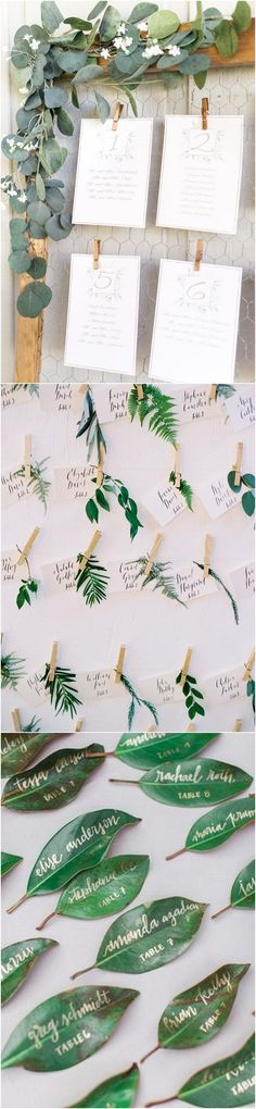 greenery wedding escort card ideas