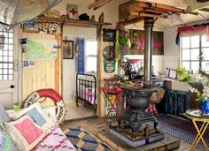Rustic Beach Cottage with Old Wood Stove