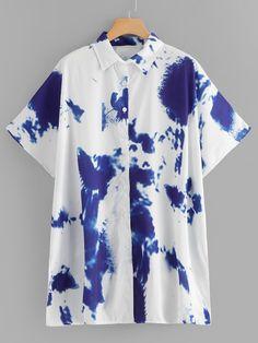 Tie Dye Blouse -SheIn(Sheinside) Blouse Batik, Tie Blouse, Kimono, Flannel Girl, Shibori Tie Dye, Stress Toys, Textiles, China Art, Aloha Shirt