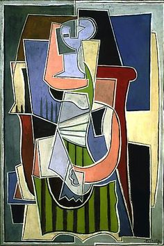 """Pablo Picasso, """"Femme assise dans un fauteuil,"""" 1920. Oil on canvas, 51 3/8 x 35 1/4 in. Richard Gray Gallery."""