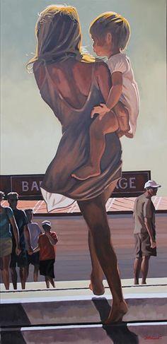 Galerie de l'Estuaire - Nicolas ODINET Painting People, Figure Painting, Mother Art, Summer Painting, Beautiful Sketches, Unusual Art, Elements Of Art, French Art, Art Plastique