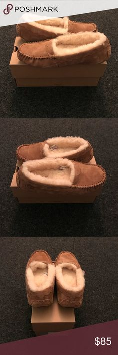 Brand new ugg moccasins NWOT Never worn! Super comfy. Not true to size, definitely smaller which is why I am selling. I would say fits more like a 4.5 or 5. Includes ugg box but not for this particular kind. Ugg box is for another kind of slipper. UGG Shoes Moccasins