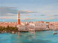 Lucia Sarto | Italian Romantic Impressionist painter  Venice aerial view stamp
