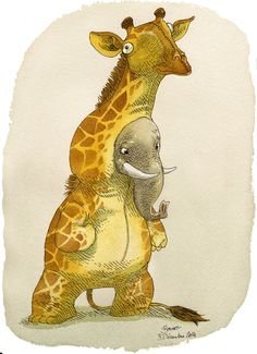 Elephant in a giraffe costume Art Print by Bouletcorp | Society6 #art  #design #awesome #print  #poster  #color  #cool  #gift  #gift #ideas  #hipster  #funny  #Illustration  #threadless  #drawing  #girls  #beautiful #humor