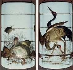 Standing Cranes (obverse); Tortoises beside Stones (reverse). White ceramic ground, gold, black and red takamakie, nashiji; Interior: nashiji and fundame. Signed Eikan? 19th century. The Met.