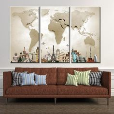 World Map Monuments Multi Panel Canvas Wall Art