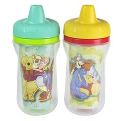 Add some adventure to mealtime! These colorful sippy cups feauring Winnie the Pooh and friends are just the right companions for your thirsty little cubby. Each cup features a spill-proof valve that's built into the lid, so clean up won't be a bother. The cup walls feature double insulation that keeps drinks cool for longer, and the sweat proof surface makes the cup easy for your child to grip. Product is BPA free.