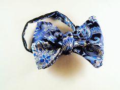 blue paisley bowtie mens paisley bowtie  by LookForMeBowties