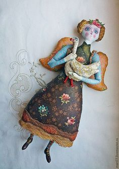 Angel by Olga Mart Fabric Dolls, Fabric Art, Paper Dolls, Marionette, Art Textile, Soft Dolls, Soft Sculpture, Doll Face, Doll Patterns