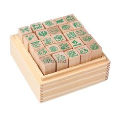V1NF 25pcs Happy Life Diary Stamp Set DIY Rubber Wooden Stamp with Wooden Box