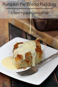 This decadently rich pumpkin pie bread pudding has bits of chocolaty goodness!