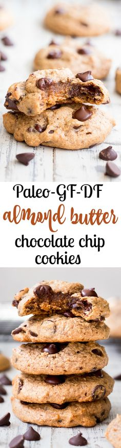 These chewy paleo chocolate chip cookies are a breeze to make, kid approved and the perfect go-to healthy dessert. They're loaded with good fats, super chewy and thick, with great nutty flavor thanks to the almond butter! Grab one for an after school snack or serve to a crowd - these chewy chocolate chip cookies are sure to be a hit.