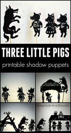 Based on the famous fairy-tale, these printable shadow puppets will let your kids make their version of Three Little Pigs and stage a shadow play at home or in the classroom! 3 Little Pigs Activities, Fairy Tale Activities, Fairy Tale Crafts, Famous Fairies, Shadow Theatre, Pig Crafts, Puppets For Kids, Marionette, Three Little Pigs