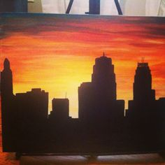 ::love this sky! Skyline Painting, City Painting, Moon Painting, River Painting, City Skyline Art, Abstract Flower Art, Sky Art, Wall Art Pictures, Kansas City