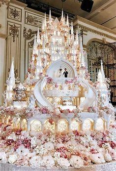 Modern Wedding Cakes Castle Wedding Cake by Lenovelle Cake Huge Wedding Cakes, Castle Wedding Cake, Extravagant Wedding Cakes, Wedding Cake Photos, Amazing Wedding Cakes, Elegant Wedding Cakes, Wedding Cake Designs, Disney Wedding Cakes, Fountain Wedding Cakes