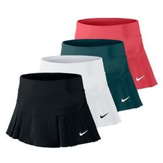 Be the belle of the tennis courts in the lightweight Nike Women's Victory 11.8 Inch Breathe Tennis Skort! For maximum breathability and comfort the power mesh waistband has you covered while the Nike Pro knit built-in short offers coverage and added ball storage. Great range of motion is added with the pleated bottom plus it includes perforation throughout the pleats for increased ventilation.