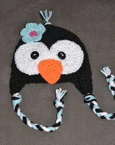 penguin hat, girls penguin hat, crochet penguin hat, crochet kids hat, crochet baby hat. $22.00, via Etsy.