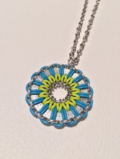 A personal favorite from my Etsy shop https://www.etsy.com/ca/listing/270808454/lime-green-and-bright-blue-daisy
