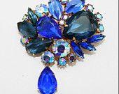 Vintage Brooch Cobalt Sapphire Blue with Dangle CIJ Sale